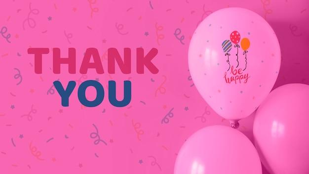 Obrigado e seja feliz texto em balões Psd grátis