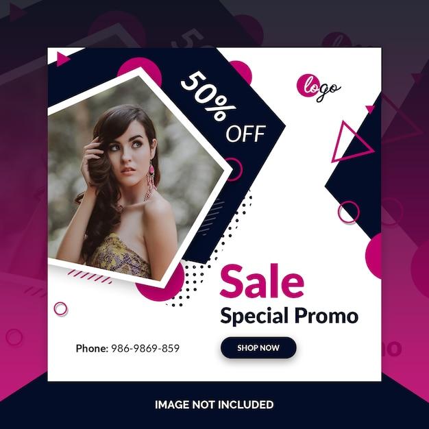 Oferecer venda modelo de banner de mídia social da web Psd Premium