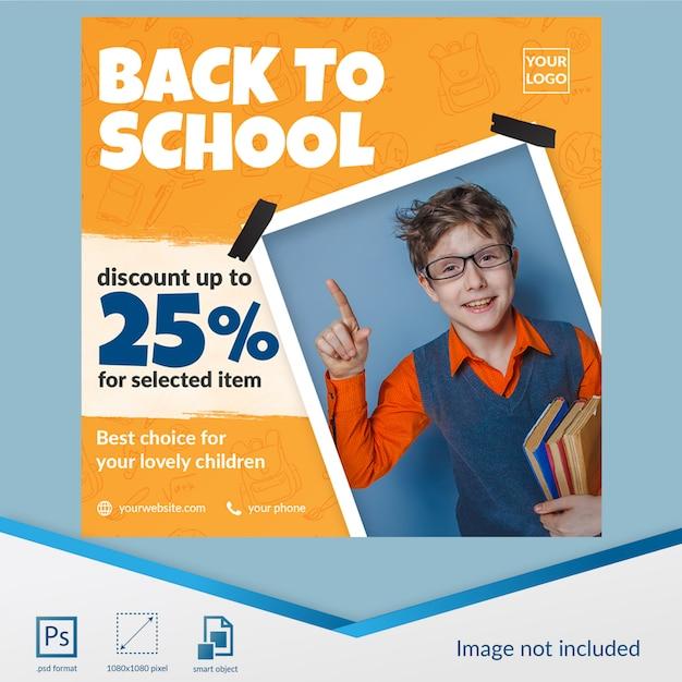 Oferta de desconto especial de volta à escola para o modelo de postagem de mídia social do aluno Psd Premium
