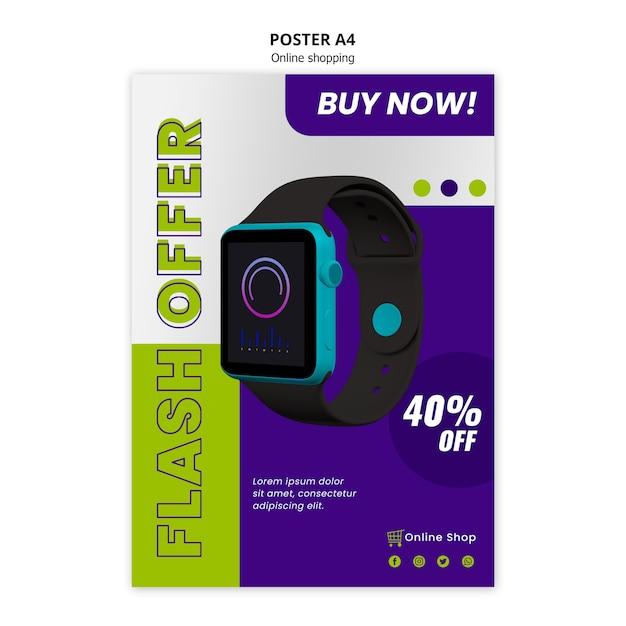 Oferta online em flash de modelo de cartaz de loja de dispositivos Psd grátis