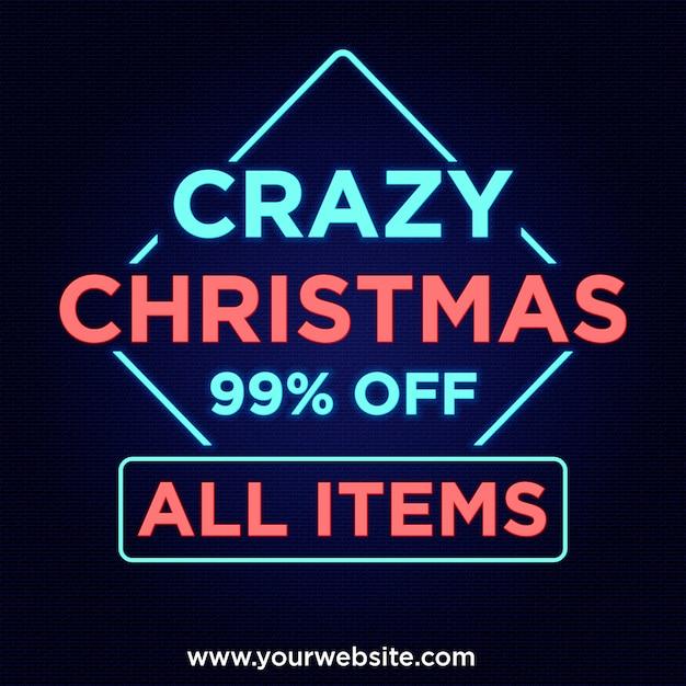 Ofertas de natal loucas 99% de desconto no banner no design de estilo neon Psd Premium