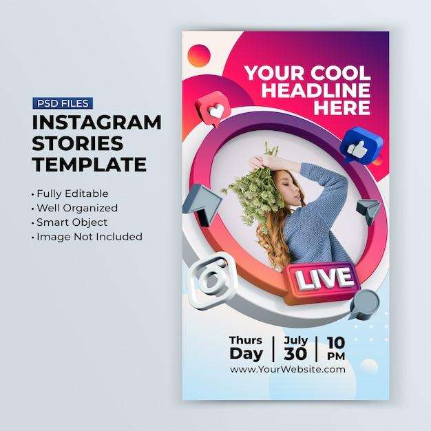 Oficina de streaming ao vivo no instagram postar modelo de postagem em mídia social Psd Premium