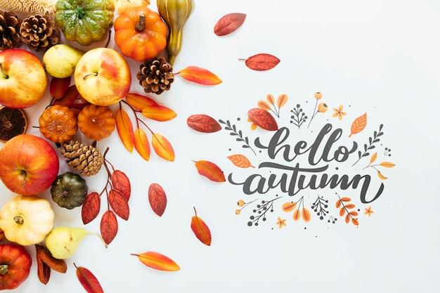 Olá citação de outono em fundo branco Psd grátis