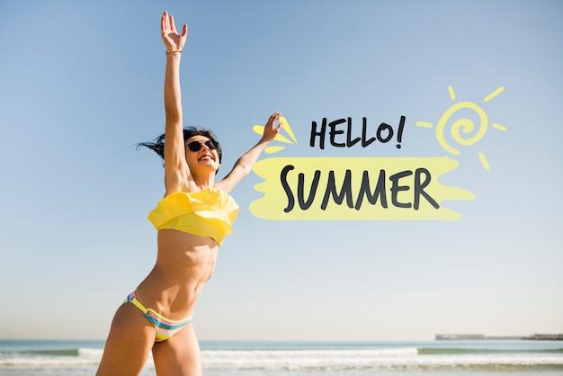 Olá maquete de garota de salto de verão Psd grátis