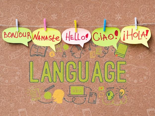 Olá multilingue conceito de mensagem Psd grátis