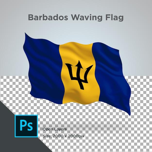 Onda de bandeira de barbados em maquete transparente Psd Premium