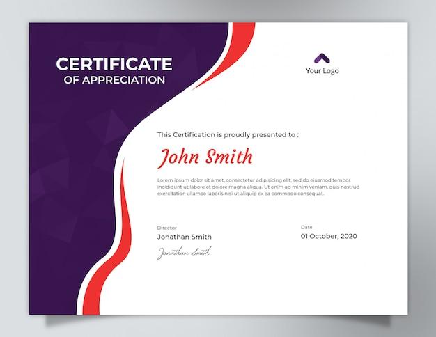 Ondas roxas e vermelhas escuras com design de certificado de padrão de polígono Psd Premium