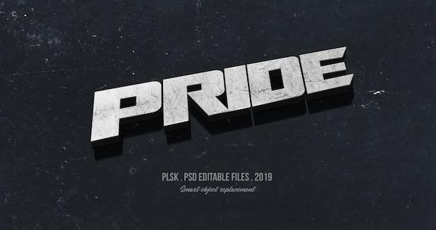 Orgulho 3d efeito de estilo de texto Psd Premium