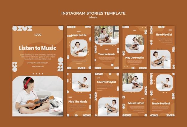 Ouça música e toque histórias de ukulele no instagram Psd grátis