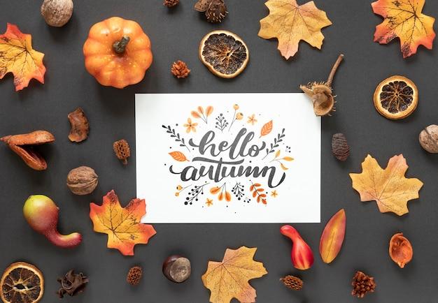 Outono seco decoração em fundo preto com mock-up Psd grátis