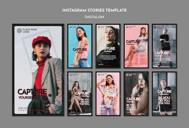 Pacote de histórias do instagram para o tema capture a si mesmo Psd grátis