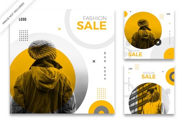Pacote de modelo de postagem do instagram de venda de moda Psd Premium