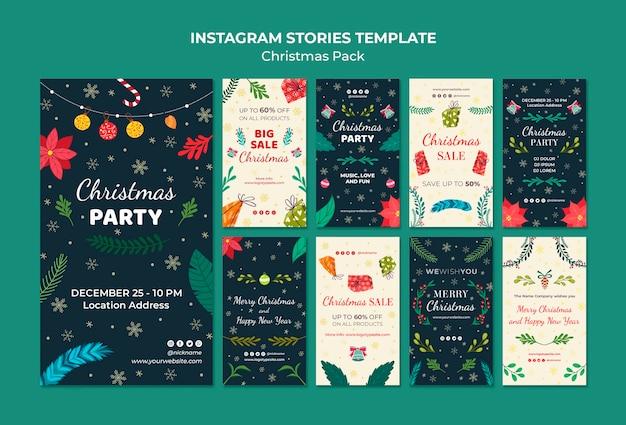 Pacote de natal de modelo de histórias do instagram Psd grátis
