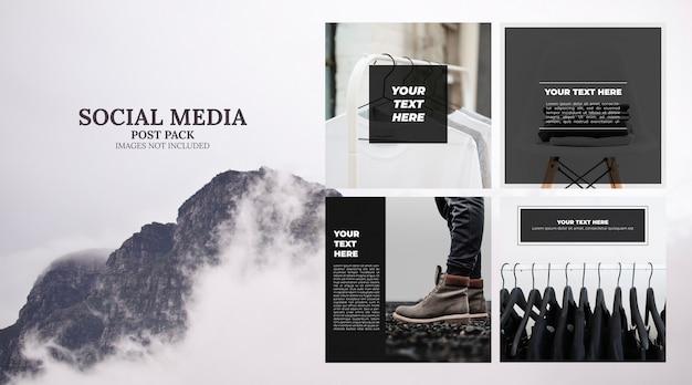 Pacote de postagem de modelo de mídia social mínima Psd grátis