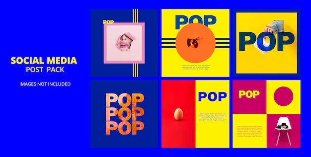 Pacote de postagem de modelo de mídia social pop Psd grátis