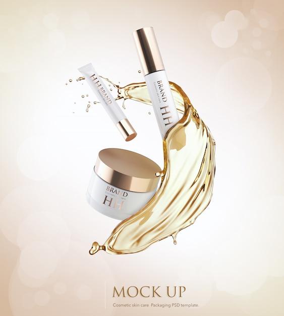 Pacote de produtos hidratantes cosméticos com respingos de óleo líquido Psd Premium