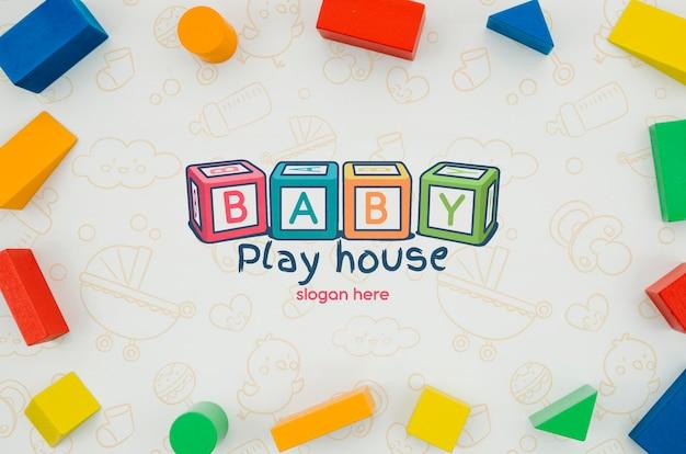 Pacote de quadros de brinquedo infantil de vista superior Psd grátis