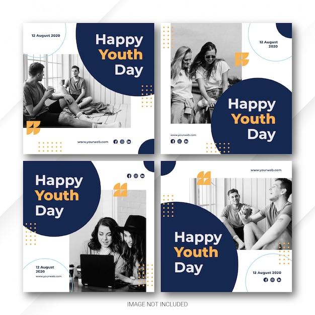 Pacote do instagram post para o dia internacional da juventude Psd Premium