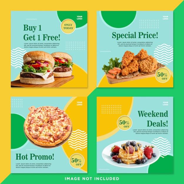 Pacote promotivo de alimentos mídia social post Psd Premium
