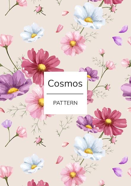 Padrão de flor de cosmos de mão desenhada Psd Premium