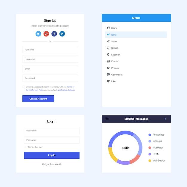 Página da web de elementos da interface do usuário Psd Premium