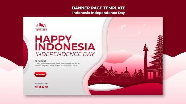 Página de banner do dia da independência da indonésia Psd Premium