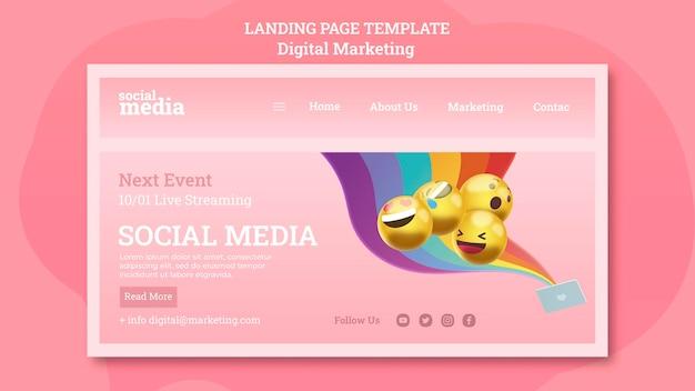 Página de destino da mídia social Psd Premium