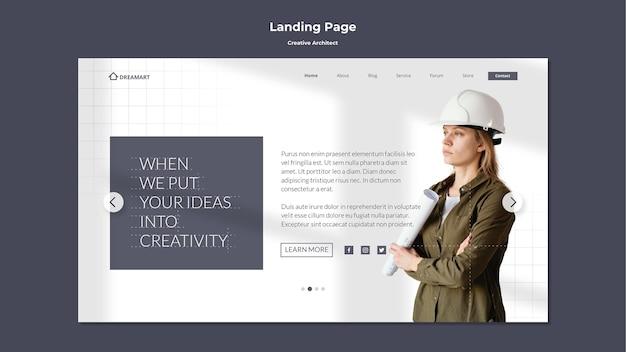 Página de destino do arquiteto criativo Psd Premium