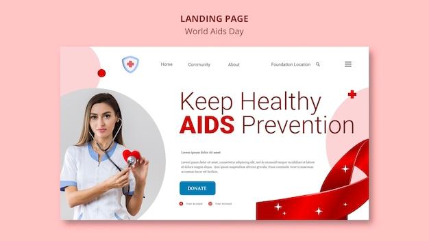 Página de destino do dia mundial da aids Psd grátis