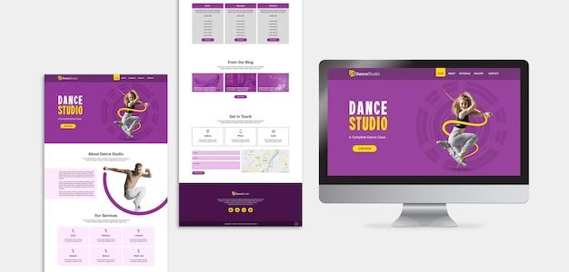 Página de destino do estúdio de dança Psd Premium