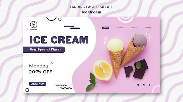 Página de destino do modelo de sorvete Psd grátis
