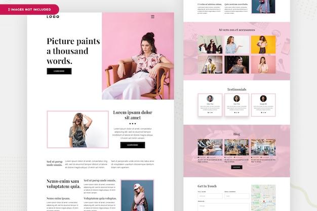 Página de destino do site de moda Psd Premium