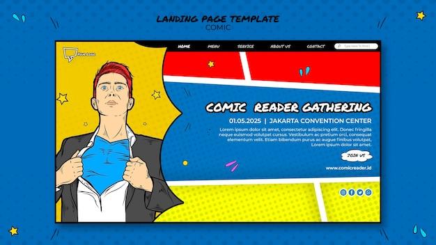 Página de destino em quadrinhos Psd grátis
