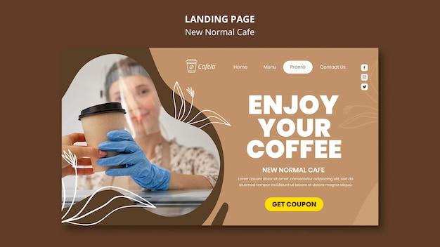 Página de destino para um novo café normal Psd Premium