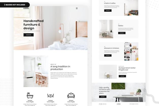 Página do site de móveis artesanais Psd Premium