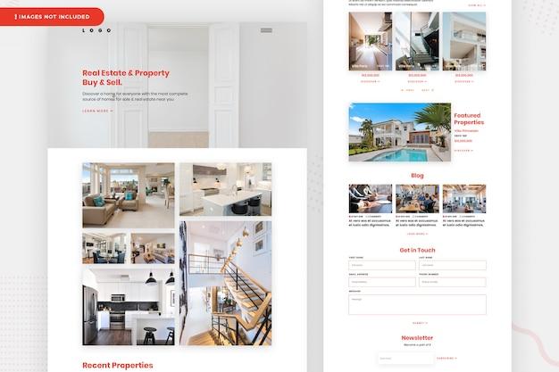 Página do site imobiliário e propriedade Psd Premium