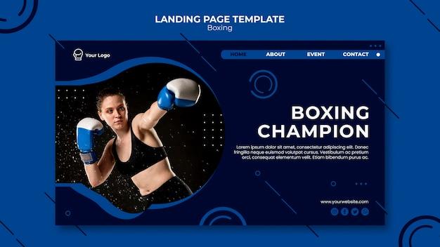 Página inicial de treino de campeão de boxe Psd grátis