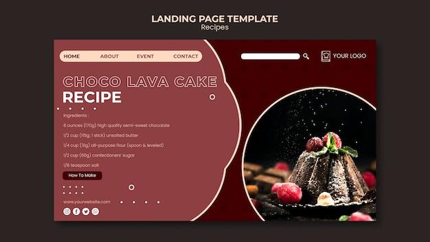 Página inicial do modelo de receitas de sobremesas Psd grátis