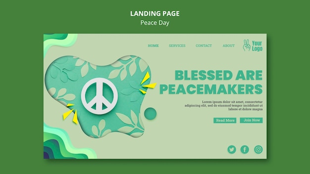Página inicial para o dia internacional da paz Psd grátis