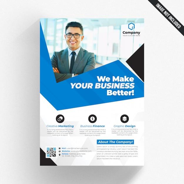 Panfleto comercial branco com detalhes azuis Psd Premium