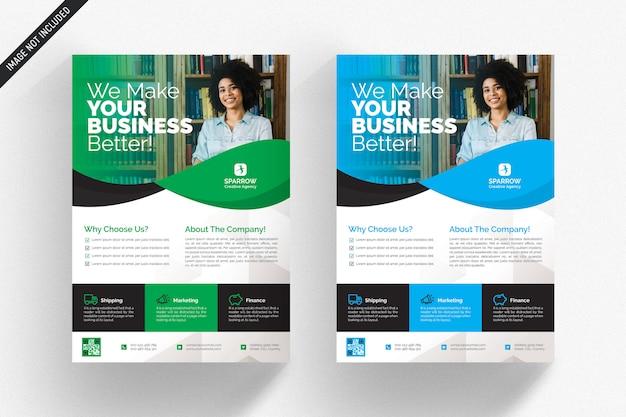 Panfleto comercial branco com detalhes verdes e azuis Psd Premium