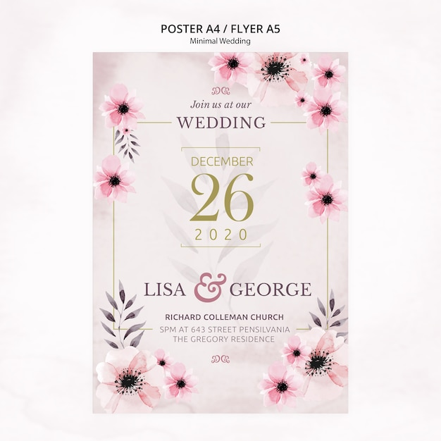 Panfleto de convite de casamento mínimo elegante Psd grátis