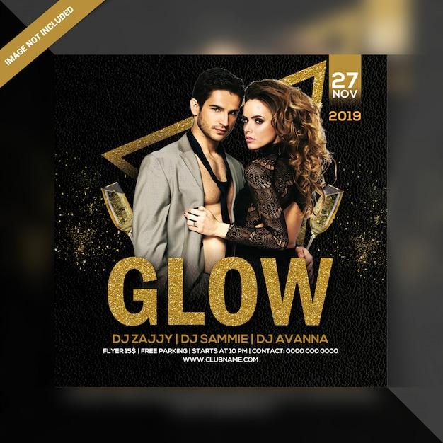 Panfleto de festa à noite de brilho Psd Premium
