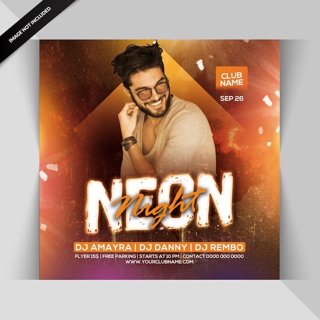 Panfleto de festa à noite de néon Psd Premium