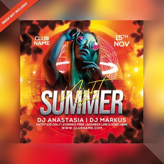 Panfleto de festa à noite de verão Psd Premium