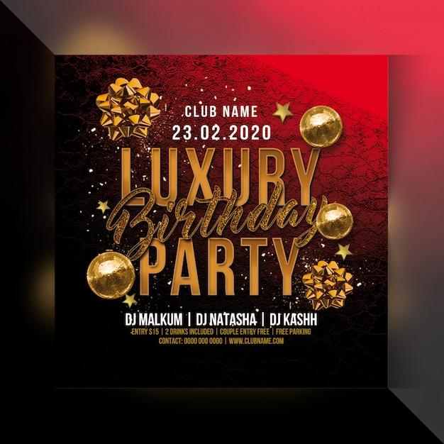 Panfleto de festa de aniversário de luxo Psd Premium