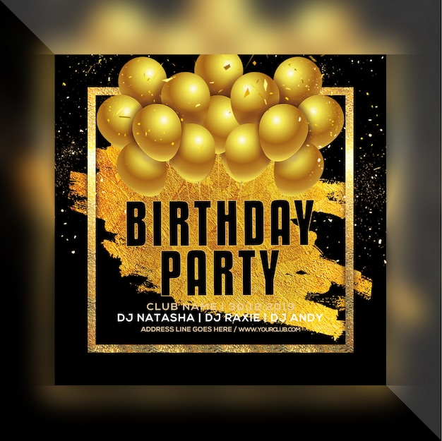 Panfleto de festa de aniversário Psd Premium