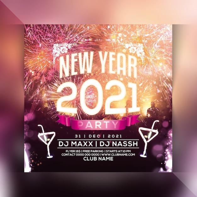Panfleto de festa de ano novo 2021 Psd Premium