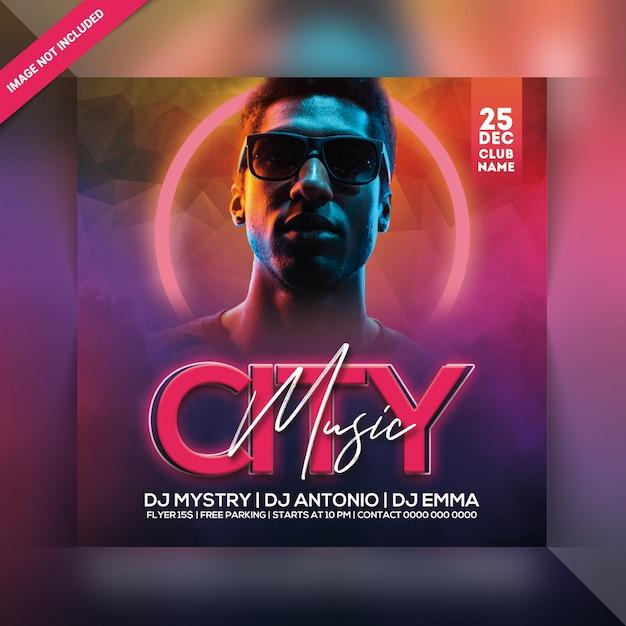 Panfleto de festa de música da cidade Psd Premium