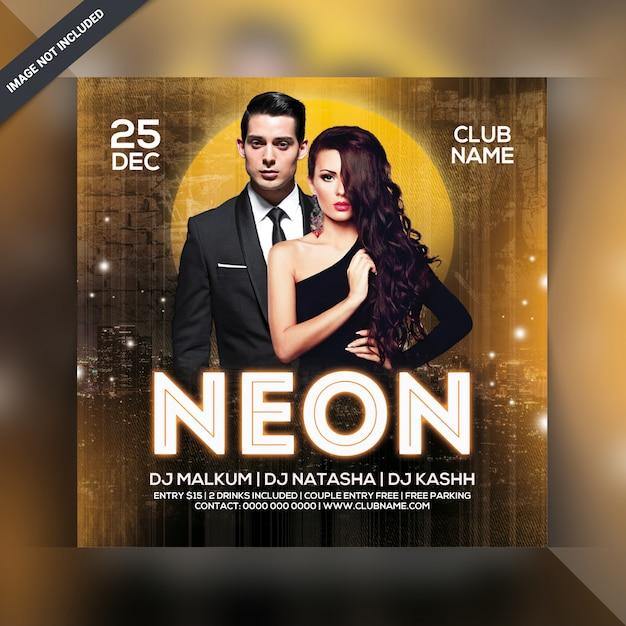 Panfleto de festa de néon de dj Psd Premium